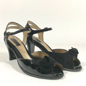 BeautiFeel Patent Leather/Suede Combo Peep-Toe